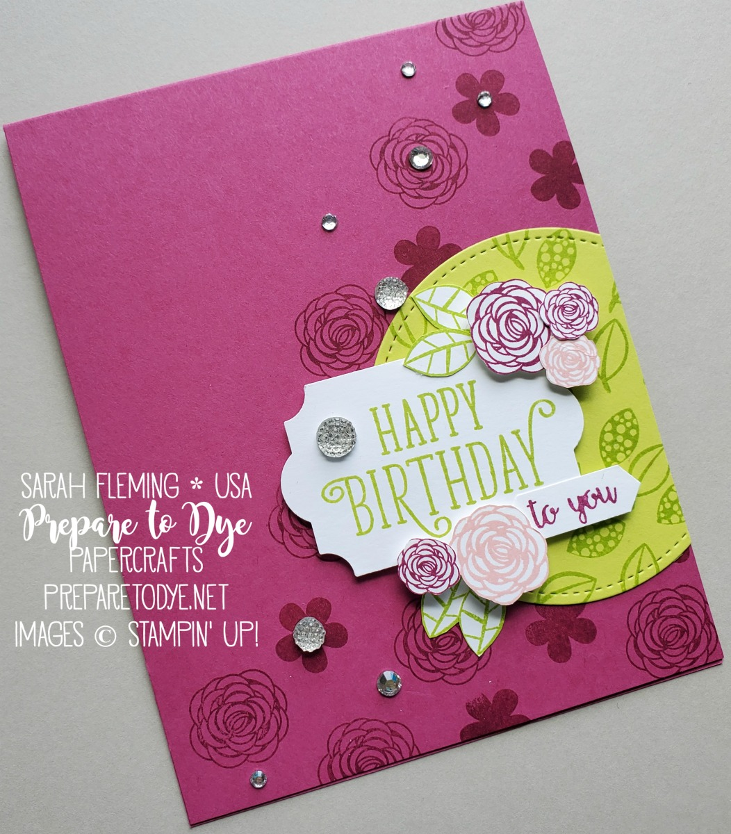 Stampin' Up! handmade birthday card using Happy Birthday Gorgeous stamp set - retiring soon - Everyday Label Punch, Stitched Shapes dies, Clear Faceted Gems - Sarah Fleming - Third Thursdays Blog Hop - Prepare to Dye Papercrafts