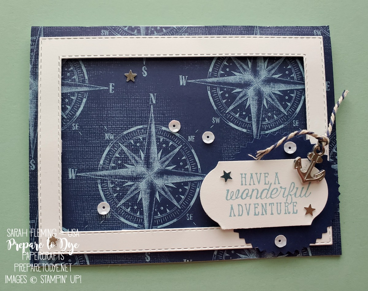 Stampin' Up! masculine card with Come Sail Away paper, Sea of Textures stamps, Stitched Rectangle dies, Timeless Label punch - Sarah Fleming - Prepare to Dye Papercrafts