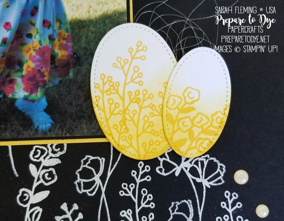 Stampin' Up! Easter egg hunt scrapbook page with Love What You Do stamps, Lined Alphabet stamps, heat embossing, ombre coloring with Stampin' Blends alcohol markers - Sarah Fleming - Prepare to Dye Papercrafts
