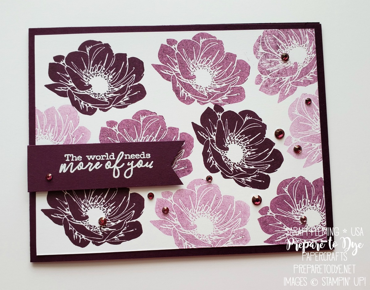 Stampin' Up! handmade encouragement thank you card with Floral Essence stamps, Free As a Bird stamps, heat embossing - Sarah Fleming - Prepare to Dye Papercrafts