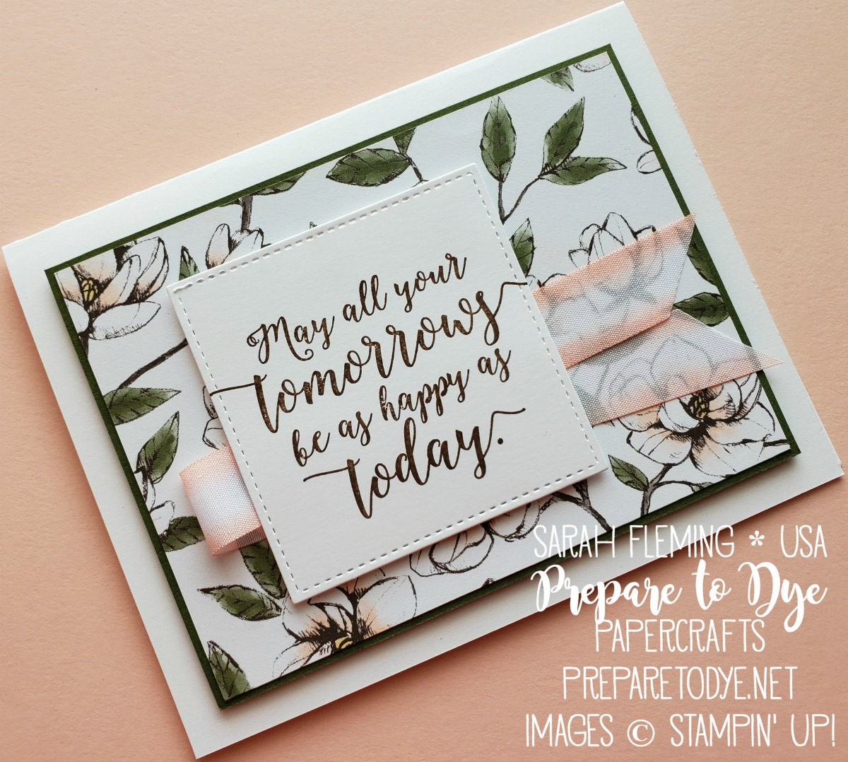 Stampin' Up! wedding, retirement, farewell card with Magnolia Lane paper, Colorful Seasons stamps - Sarah Fleming - Prepare to Dye Papercrafts