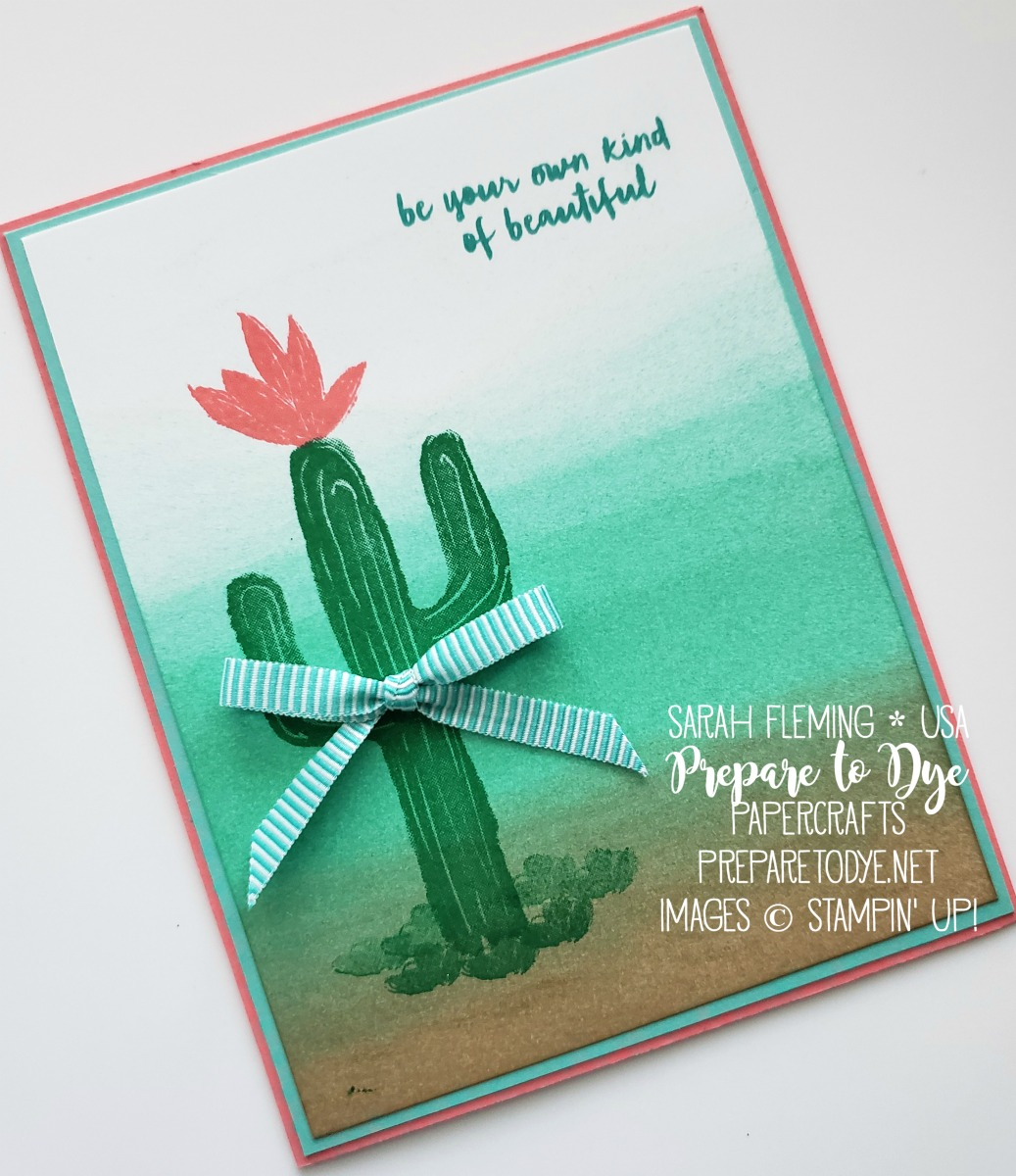 Stampin' Up! handmade friend or encouragement card using Flowering Desert, sponge brayers - VIDEO TUTORIAL - sponged landscape background - Sarah Fleming - Prepare to Dye Papercrafts