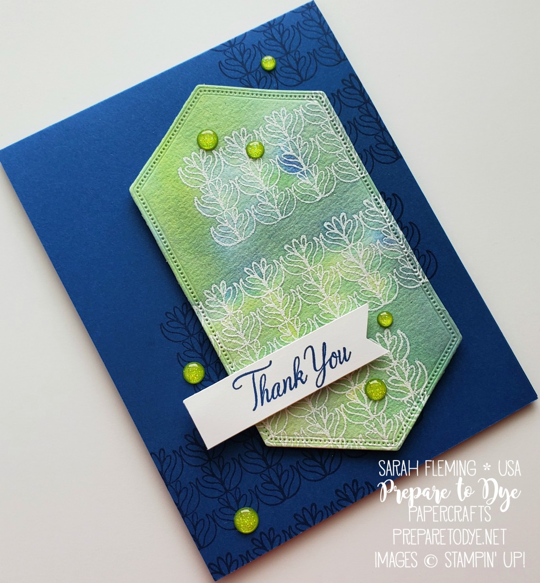 Stampin' Up! handmade thank you card using Parcels & Petals stamp set, watercolor emboss resist - masculine card - Stitched Nested Labels dies - Sarah Fleming - Prepare to Dye Papercrafts