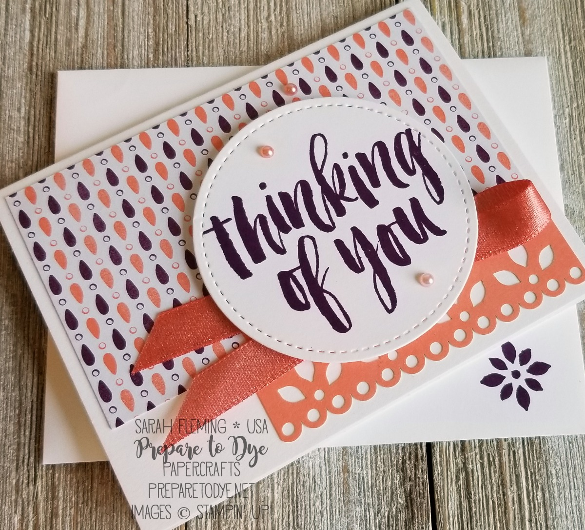 Stampin' Up! Delightfully Detailed Note Cards, Delightfully Detailed Memories & More cards, Stitched Shapes dies - Sarah Fleming - Prepare to Dye Papercrafts