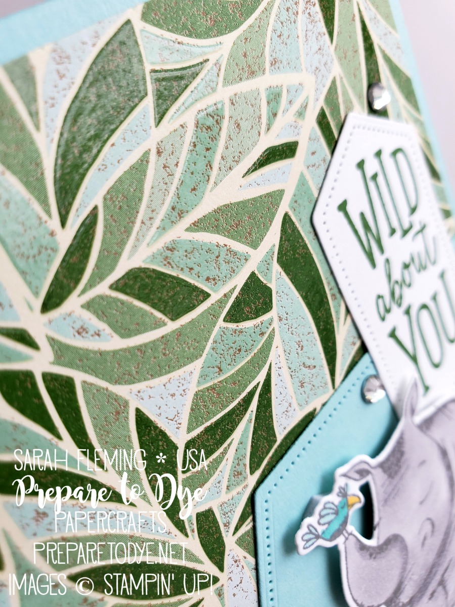 Stampin' Up! Animal Outing stamps with Mosaic Mood paper, Stitched Nested Labels dies - handmade card - kid birthday - friend - sneak peek - Sarah Fleming - Prepare to Dye Papercrafts