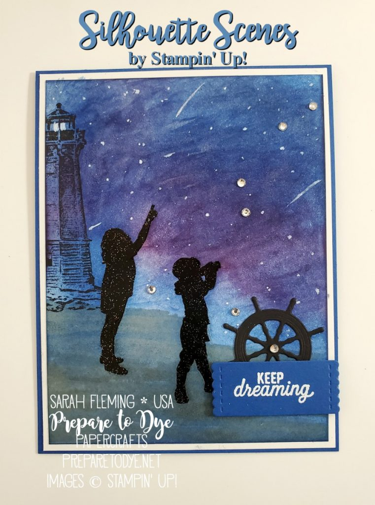 Stampin' Up! handmade nautical kid adventure card using Silhouette Scenes, Sailing Home, Waterfront stamps, Smooth Sailing Dies, Stitched Labels dies, shimmer black embossing, sponged night sky background, night beach scene, starry night - Sarah Fleming - Prepare to Dye Papercrafts