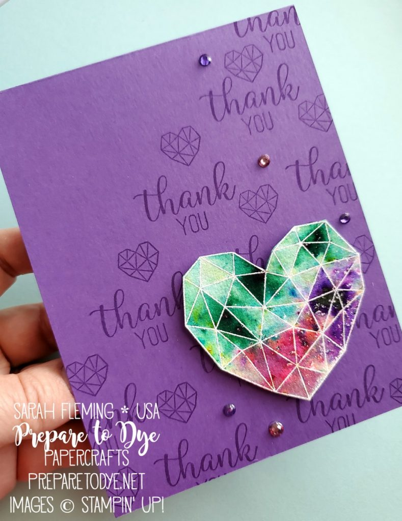 Stampin' Up! handmade thank you card using Modern Heart stamps and new Pigment Sprinkles watercolor pigment powders - emboss resist heat embossing - Sarah Fleming - Prepare to Dye Papercrafts