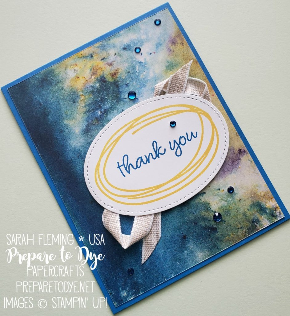 Stampin' Up! Sweetly Swirled stamps with See A Silhouette paper, Stitched Shapes dies, Noble Peacock Rhinestones, and Magnolia Lane ribbon - Sarah Fleming - Prepare to Dye Papercrafts