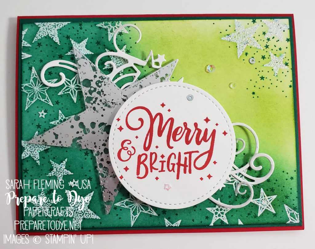 Stampin' Up! Christmas card using So Many Stars bundle with Stitched Stars dies, Everything Festive sentiment, Mercury Glass Acetate - sponged emboss resist - Sarah Fleming - Prepare to Dye Papercrafts