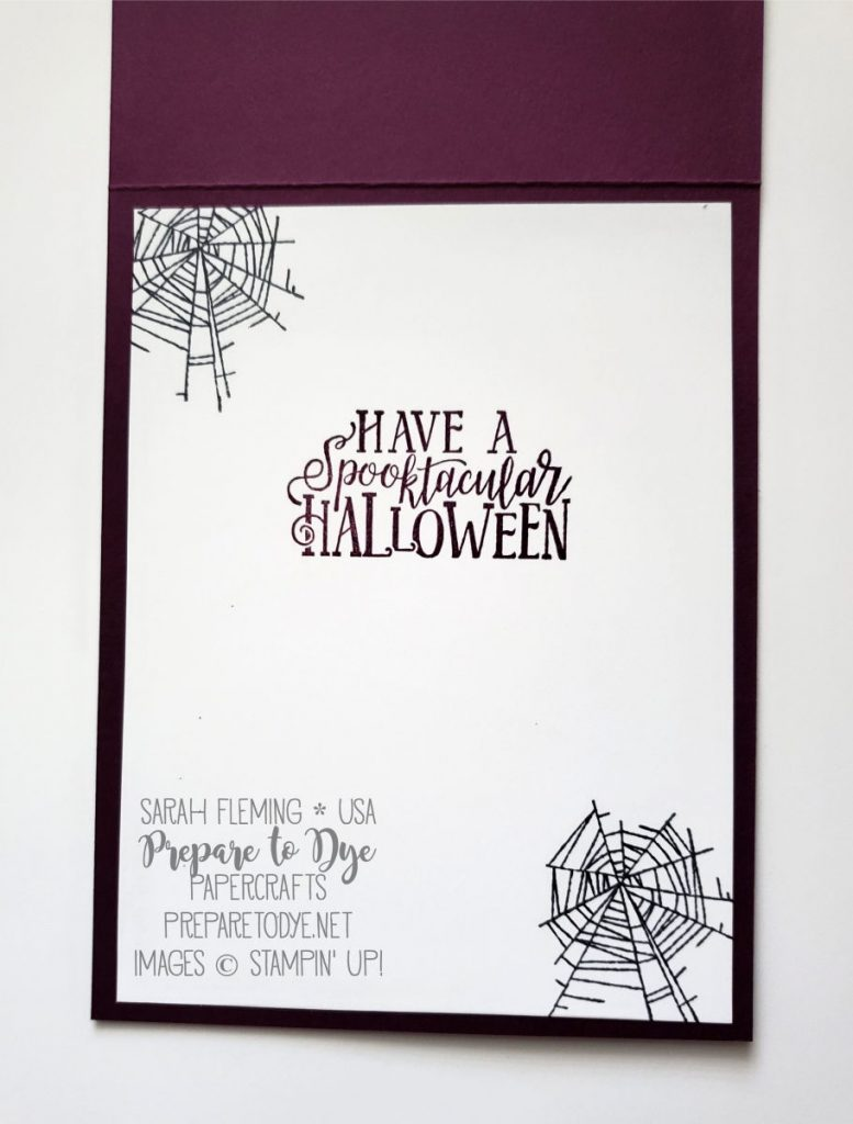 Stampin' Up! Wonderfully Wicked and Spooktacular Bash stamps, Monster Bash Enamel Shapes - masking and spritzing techniques, coloring with alcohol markers - Stamp Ink Paper Challenge - Sarah Fleming - Prepare to Dye Papercrafts
