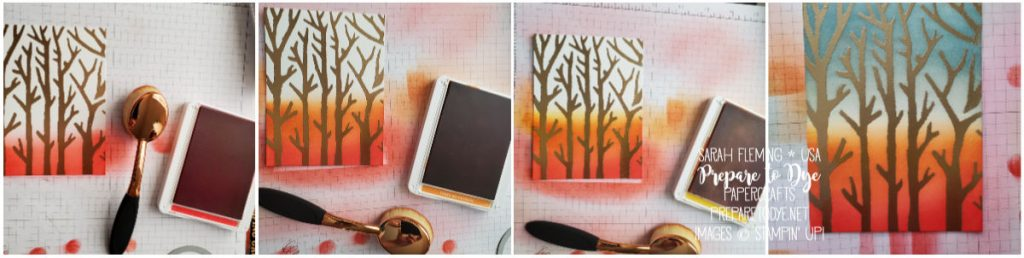 Stampin' Up! handmade fall thank you thanksgiving thankful card using Country Home stamps, Basic Pattern Decorative Masks, Gathered Leaves Dies, masking, stencils, heat embossing, ink blending with makeup brushes - Sarah Fleming - Prepare to Dye Papercrafts