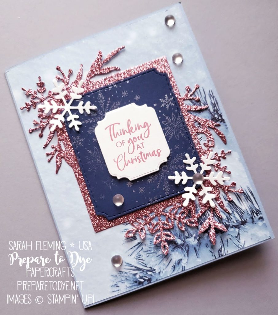 Stampin' Up! handmade Christmas card using Frosted Foliage bundle with Frosted Frames dies, Feels Like Frost paper, Itty Bitty Christmas stamps, Ornate Frames Dies - Sarah Fleming - Prepare to Dye Papercrafts