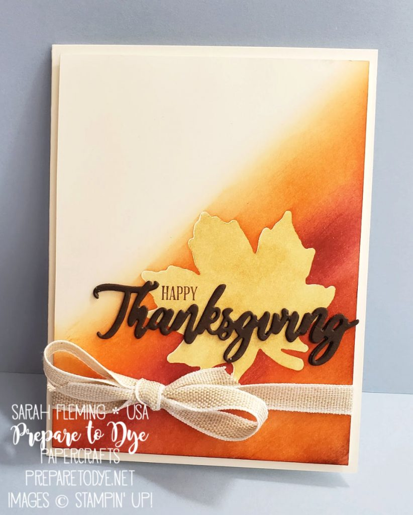 Stampin' Up! Gather Together bundle with Gathered Leaves dies, A Wish For Everything bundle with Word Wishes dies, Delicata Gold Glitz ink, masking, ink blending with brushes - Sarah Fleming - Prepare to Dye Papercrafts