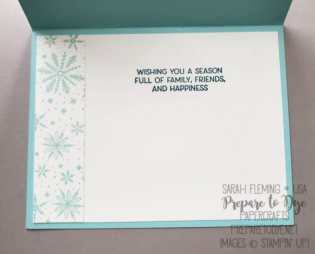Stampin' Up! handmade Christmas holiday card using Frosted Foliage bundle with Frosted Frames dies, Perfectly Plaid stamps, Timeless Label punch, ombre snowflakes, ombre sentiment - Sarah Fleming - Prepare to Dye Papercrafts