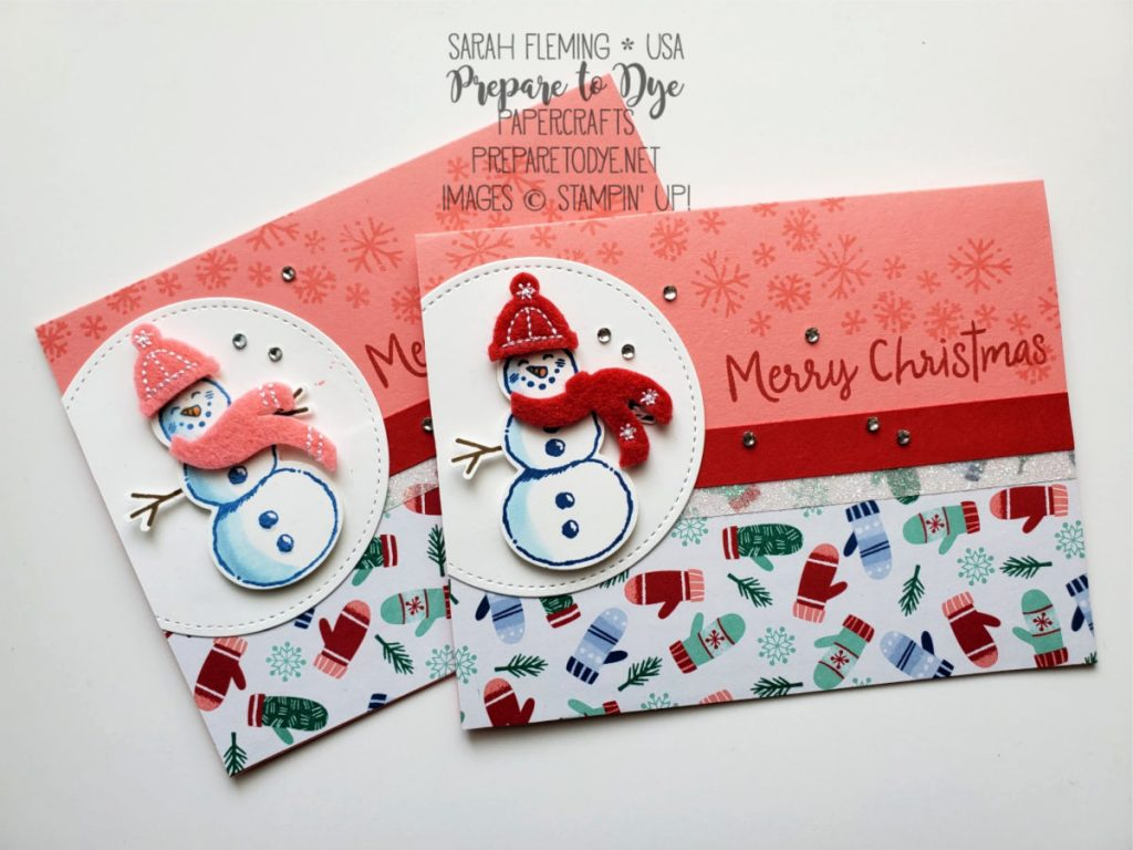 Stampin' Up! handmade Christmas holiday card using Snowman Season bundle with Snowman Builder Punch, Let It Snow Embellishment Kit, Stitched Shapes Dies, Let It Snow Specialty paper - Sarah Fleming - Prepare to Dye Papercrafts